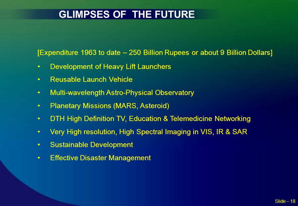 GLIMPSES OF THE FUTURE [Expenditure 1963 to date – 250 Billion Rupees or about 9 Billion Dollars] Development of Heavy Lift Launchers.